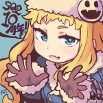 1girl bangs black_gloves blonde_hair blue_coat blue_eyes blue_pupils breasts buttons closed_mouth coat eyebrows eyebrows_visible_through_hair facing_away fang fur_collar fur_trim gloves gunner hands_up hat hat_ornament highres jack_frost long_hair long_sleeves looking_at_viewer reiesu_(reis) sekaiju_no_meikyuu sekaiju_no_meikyuu_2 signature simple_background small_breasts smile solo speech_bubble upper_body