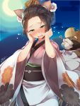 1girl ? animal_ears bangs_pinned_back blush brown_hair cat_ears clouds comb commentary_request crescent_moon dated egasumi floral_print flower forehead gradient_clothes gradient_kimono green_eyes hair_flower hair_ornament half-closed_eyes hat head_tilt highres japanese_clothes kimono kokka_han long_sleeves moon night night_sky nose_blush obi oboro_muramasa okoi_(oboro_muramasa) open_mouth outdoors pink_kimono print_kimono sash signature sky solo straw_hat sweat tanuki torn_clothes torn_hat wavy_mouth white_flower white_kimono wide_sleeves