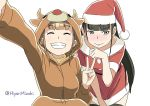 animal_costume antlers black_hair black_legwear blush christmas closed_eyes commentary_request cosplay cowboy_shot dress embarrassed eyebrows_visible_through_hair full-face_blush grey_eyes grin hat hiyori_mizuki kigurumi kobuchizawa_shirase long_hair looking_away miyake_hinata reindeer_costume santa_costume santa_hat self_shot shiny shiny_skin simple_background smile sora_yori_mo_tooi_basho thigh-highs twitter_username v white_background zettai_ryouiki