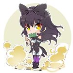 1girl black_hair blake_belladonna chibi iesupa ninja rwby rwby_chibi scroll smoke solo yellow_eyes