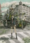 1boy 6+girls bird black_hair black_legwear blazer blonde_hair blue_legwear blue_skirt boots brown_eyes building camouflage caterpillar_tracks city clock clock_tower clouds coat coppelion crosswalk fukasaku_aoi full_body grass green_hair ground_vehicle gun holster inoue_tomonori jacket kneehighs kurosawa_haruto loafers looking_afar looking_at_viewer machine_gun military military_vehicle miniskirt motor_vehicle multiple_girls naruse_ibara necktie nomura_taeko official_art outdoors overgrown ozu_kanon ozu_shion plaid plaid_skirt plant radiation_symbol scarf school_uniform serafuku shoes short_hair silver_hair sitting skirt sky standing striped_neckwear tank thigh-highs thigh_holster tower tsuburaya_mana type_97_chi-ha weapon