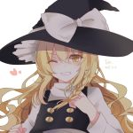 1girl ;d bangs black_hat black_vest blonde_hair blush bow braid dated eyebrows_visible_through_hair grin hat hat_bow heart kirisame_marisa long_hair long_sleeves looking_at_viewer one_eye_closed open_mouth shirt side_braid signature simple_background smile solo teeth toriki touhou upper_body v-shaped_eyebrows vest white_background white_bow white_shirt witch_hat yellow_eyes