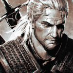 1boy armor chainmail face facial_hair geralt_of_rivia ilya_kuvshinov male_focus monochrome ponytail scar solo stubble sword the_witcher the_witcher_3 upper_body weapon