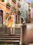1girl blonde_hair clothes day dress hand_in_hair highres house lamppost landscape long_hair original portugal road smile stairs street tree violet_eyes wind yusao
