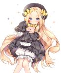 1girl abigail_williams_(fate/grand_order) bangs big_hair black_bow black_dress black_hat blonde_hair bloomers blue_eyes blush bow butterfly closed_mouth commentary_request dress eyebrows_visible_through_hair fate/grand_order fate_(series) forehead gin2 hair_bow hat highres long_hair long_sleeves object_hug orange_bow parted_bangs polka_dot polka_dot_bow sleeves_past_fingers sleeves_past_wrists solo sparkle star stuffed_animal stuffed_toy teddy_bear underwear very_long_hair white_background white_bloomers