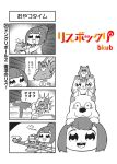 1girl 4koma :3 :d artist_name aura bangs bkub butter cat comic dog drooling fang flying food greyscale monochrome open_mouth pancake ponytail risubokkuri shirt short_hair simple_background smile speech_bubble squirrel stack_of_pancakes syrup talking translation_request two-tone_background two_side_up utensil