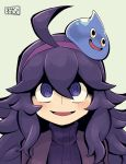 1girl ahoge al_bhed_eyes chichibu_(chichichibu) commentary_request dragon_quest hairband hex_maniac_(pokemon) messy_hair open_mouth pokemon pokemon_(game) pokemon_xy purple_hair ribbed_sweater slime_(dragon_quest) smile sweater violet_eyes