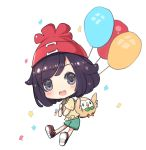 1girl :d backpack bag balloon beanie black_eyes black_footwear black_hair blush brown_shirt chibi commentary_request confetti green_shorts hat holding looking_at_viewer maodouzi mizuki_(pokemon_sm) open_mouth pokemon pokemon_(game) pokemon_sm red_hat rowlet shirt shoes short_shorts short_sleeves shorts simple_background smile solo upper_teeth white_background