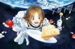 1girl :d akakeru blush brown_eyes brown_hair cake earth food fork fruit gloves highres international_space_station itou_serika looking_at_viewer open_mouth plate smile space spacesuit strawberry uchuu_kyoudai white_gloves