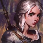 1girl ciri close-up face green_eyes half_updo ilya_kuvshinov lips looking_at_viewer parted_lips scar short_hair silver_hair smile solo sword the_witcher the_witcher_3 upper_body weapon