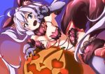 1girl 3104bnb :d ahoge animal_ears armpits blush_stickers breasts cosplay dangerous_beast dutch_angle elbow_gloves fang fate/grand_order fate_(series) fur-trimmed_gloves fur-trimmed_legwear fur_collar fur_trim gloves halloween highres jack-o'-lantern lace lace-trimmed_thighhighs large_breasts long_hair mash_kyrielight mash_kyrielight_(cosplay) o-ring_top open_mouth purple_gloves purple_legwear revealing_clothes senki_zesshou_symphogear smile solo tail thigh-highs twintails very_long_hair wolf_ears wolf_tail yukine_chris