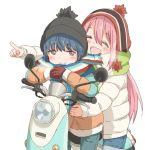 2girls beanie blue_hair blush fingerless_gloves gloves hat hatopoo_(beach7pijon) hug jacket kagamihara_nadeshiko long_hair moped multiple_girls open_mouth pink_hair pointing scarf shima_rin smile yurucamp