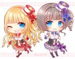 2girls :d ;d bangs bare_shoulders beamed_quavers black_footwear black_shirt blonde_hair blue_bow blue_eyes blunt_bangs blush boots bow breasts brown_hair chibi cleavage commentary_request cross-laced_footwear crotchet detached_sleeves drill_hair ekuseria eyebrows_visible_through_hair gloves hand_on_own_chest hat index_finger_raised knee_boots lace-up_boots lily_(shironeko_project) long_hair medium_breasts mini_hat multiple_girls musical_note navel one_eye_closed open_mouth outstretched_arm pleated_skirt puffy_short_sleeves puffy_sleeves purple_gloves purple_hat quaver red_bow red_gloves red_hat red_skirt ringlets shironeko_project shirt short_sleeves side_ponytail skirt smile staff_(music) star strapless upper_teeth very_long_hair white_skirt yukiyuki_441
