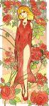 1girl blonde_hair bouquet dress earrings elbow_gloves elysion eyeshadow flower full_body gloves gun highres jewelry lipstick long_dress looking_at_viewer makeup mizuto_(o96ap) necklace red_dress red_eyes red_flower red_footwear red_gloves red_rose rose short_hair side_slit sleeveless sleeveless_dress smile solo sound_horizon stella_(sound_horizon) thorns weapon