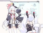 2girls animal_ears azur_lane chair commentary_request fake_animal_ears hair_ornament hair_ribbon headband jacket kaede_(003591163) laffey_(azur_lane) long_hair machinery multiple_girls navel remodel_(azur_lane) ribbon sitting thigh-highs twintails violet_eyes weapon white_hair
