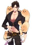 1boy belial_(granblue_fantasy) black_hair black_shirt granblue_fantasy highres male_focus midriff pectorals pomeranian_(dog) red_eyes shirt short_hair smile sokuse_kienta solo