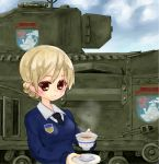 1girl blonde_hair brown_eyes churchill_(tank) clouds cup darjeeling day emblem girls_und_panzer ground_vehicle military military_vehicle motor_vehicle paya! sky st._gloriana's_(emblem) st._gloriana's_school_uniform tank teacup
