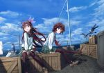 2girls absurdres bird box brown_eyes brown_hair chamu_(chammkue) clouds crescent crescent_moon_pin day gradient_hair green_skirt hair_ornament highres kantai_collection kisaragi_(kantai_collection) loafers long_hair multicolored_hair multiple_girls mutsuki_(kantai_collection) neckerchief ocean outdoors pantyhose pleated_skirt red_eyes redhead school_uniform seagull serafuku shoes shore short_hair sitting skirt sky thigh-highs