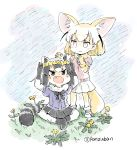 2girls :d animal_ears black_hair black_skirt blonde_hair blush_stickers commentary common_raccoon_(kemono_friends) dandelion extra_ears fang fennec_(kemono_friends) flower fox_ears fox_tail gloves grey_hair kemono_friends multicolored_hair multiple_girls open_mouth panzuban raccoon_ears raccoon_tail short_hair sitting skirt smile standing striped_tail tail twitter_username white_hair white_skirt wreath