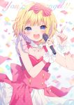 1girl :d bangs blonde_hair blue_eyes blurry blurry_background blush bow breasts bridal_gauntlets collarbone commentary_request confetti copyright_request depth_of_field detached_collar english eyebrows_visible_through_hair hair_bow hairband hands_up holding holding_microphone kurokuma_(kuro_kumagaya) looking_at_viewer medium_breasts microphone open_mouth pink_bow pink_hairband pink_shirt pink_skirt polka_dot_skirt shirt skirt smile solo striped striped_bow upper_teeth white_background white_collar