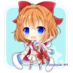 1girl :d bangs blue_eyes blue_sailor_collar blush boots bow breasts brown_hair character_request chibi collared_jacket commentary_request eyebrows_visible_through_hair full_body fur-trimmed_jacket fur_trim gloves hair_between_eyes hair_bow hand_up index_finger_raised jacket jacket_on_shoulders knee_boots long_sleeves medium_breasts open_mouth pleated_skirt red_bow sailor_collar sailor_shirt shironeko_project shirt skirt sleeveless sleeveless_shirt smile solo standing star tiara twitter_username upper_teeth white_footwear white_gloves white_jacket white_shirt white_skirt yukiyuki_441
