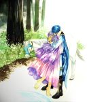 1boy 1girl animal barefoot blue_hair cape closed_eyes colored_pencil_(medium) diadora_(fire_emblem) dress european_clothes fire_emblem fire_emblem:_seisen_no_keifu forest gloves horse hug long_hair nature outdoors purple_hair sigurd_(fire_emblem) traditional_media
