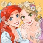 2girls :d ano_(sbee) ariel_(disney) artist_name blonde_hair blue_eyes crossover disney dress eyebrows_visible_through_hair eyelashes fingernails flower green_eyes hair_flower hair_ornament hair_ribbon hands_clasped hands_together happy lipstick long_hair looking_at_viewer lowres makeup multiple_girls open_mouth orange_background own_hands_together purple_dress rapunzel_(disney) redhead ribbon shell simple_background smile star tangled the_little_mermaid