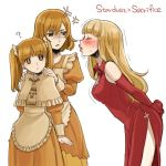 3girls ? anger_vein apron arms_behind_back bangs bare_shoulders blonde_hair blunt_bangs blush capelet cherico closed_eyes dress elbow_gloves elysion freckles gloves hands_on_another's_shoulders juliet_sleeves long_dress long_hair long_sleeves multiple_girls orange_dress orange_eyes orange_hair puckered_lips puffy_sleeves red_dress red_gloves sacrifice sacrifice's_sister_(elysion) short_hair siblings side_slit sisters sleeveless sleeveless_dress sound_horizon stella_(sound_horizon) sweat trembling twintails