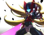 1boy android beam_saber bodysuit capcom flowing_hair helmet holding holding_weapon inti_creates long_hair male_focus omega_(rockman) red_eyes rockman rockman_zero rockman_zero_3 simple_background solo tonami_kanji weapon white_background
