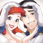 1boy 1girl ano_(sbee) ariel_(disney) artist_name black_hair blue_eyes close-up couple diadem disney dress eric_(disney) eyelashes face formal gloves grey_background hands happy heart heart_hands hetero lipstick long_hair looking_at_viewer makeup redhead short_hair simple_background smile sparkle suit the_little_mermaid veil white_dress
