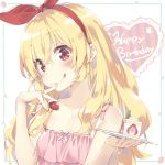 1girl :q aikatsu! bangs bare_shoulders blonde_hair blush brown_eyes cake camisole closed_mouth collarbone commentary_request cream eyebrows_visible_through_hair finger_to_mouth food food_on_finger fruit hair_between_eyes hair_ribbon hairband happy_birthday head_tilt heart holding holding_food holding_plate hoshimiya_ichigo long_hair peko pink_camisole plate red_hairband red_ribbon ribbon slice_of_cake smile solo strawberry strawberry_shortcake striped tongue tongue_out vertical_stripes very_long_hair