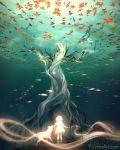 1girl animal commentary dress fish highres leaf maple_tree original short_hair solo speedpaint surreal tree underwater watermark web_address wenqing_yan