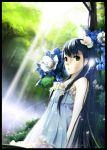 1girl blue_hair dress flower forest green_eyes hair_flower hair_ornament light_rays long_hair nature original photoshop solo sunbeam sundress sunlight very_long_hair wolfour