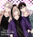 2018 black_hair blonde_hair blue-framed_eyewear blue_eyes brown_eyes checkered checkered_background dated glasses green_eyes hair_over_one_eye hand_on_another's_head hand_on_another's_shoulder hands_in_pockets happy_birthday hood hoodie katsuki_yuuri kumakazo19840616 male_focus silver_hair smile viktor_nikiforov yuri!!!_on_ice yuri_plisetsky