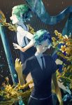 absurdres androgynous dual_persona flower gem_uniform_(houseki_no_kuni) gold golden_arms green_eyes green_hair highres houseki_no_kuni leiq necktie open_mouth phosphophyllite short_hair smile suspenders