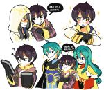 2boys ahoge aqua_hair armor artist_request black_hair blue_eyes blue_hair blush brother_and_sister cape cosplay eirika english ephraim fire_emblem fire_emblem:_kakusei fire_emblem:_seima_no_kouseki fire_emblem_heroes gloves green_hair hood long_hair looking_at_viewer mark_(fire_emblem) multiple_boys short_hair siblings skirt smile summoner_(fire_emblem_heroes)