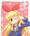 1girl aikatsu! bangs blonde_hair english hairband hoshimiya_ichigo long_sleeves looking_at_viewer one_eye_closed orange_eyes red_ribbon ribbon school_uniform solo takeuchi_motoki v_over_eye