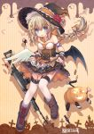 1girl apron assault_rifle bare_shoulders black_hat black_shirt black_skirt black_wings boots bow braid breasts brown_bow brown_footwear candy candy_wrapper commentary_request crescent crescent_hair_ornament feathered_wings flower fn_fnc fn_fnc_(girls_frontline) food girls_frontline gun hair_ornament halloween hat hat_flower highres jack-o'-lantern jiang-ge light_brown_hair lollipop long_hair low_ponytail medium_breasts mismatched_footwear mismatched_wings official_art pleated_skirt ponytail red_flower rifle shirt skirt skirt_basket solo star star_hair_ornament strapless striped swirl_lollipop thigh-highs vertical-striped_background vertical_stripes very_long_hair weapon white_apron white_legwear white_wings wings witch_hat wrist_cuffs