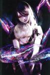 1boy 1girl absurdres dress highres hug hug_from_behind huge_filesize kagune_(tokyo_ghoul) kamishiro_rize kaneki_ken kiyohara_hiro looking_at_viewer looking_down purple_hair red_eyes smile tokyo_ghoul tongue tongue_out white_hair
