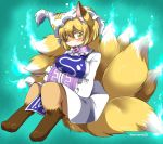 1girl animal_ears bangs bare_legs barefoot blonde_hair blue_fire blush breast_hold breasts closed_mouth dress eromame eyebrows eyebrows_visible_through_hair fire fox fox_ears fox_girl fox_tail frills fur furrification furry hair_between_eyes hands_together hat hitodama large_breasts long_sleeves mob_cap multiple_tails ofuda ofuda_on_clothes paws short_hair smile solo tabard tail touhou twitter_username white_dress white_hat yakumo_ran yellow_eyes