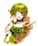 1girl :d bare_shoulders black_choker bow bracelet braid breasts choker commentary_request graphite_(medium) green_eyes green_hair hair_bow hair_ornament hair_ribbon happy jewelry long_hair looking_at_viewer multi-tied_hair open_mouth rabihiko ribbon saga saga_frontier saga_frontier_2 single_braid small_breasts smile solo traditional_media virginia_knights watercolor_(medium)