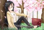 1girl bag bangs beige_jacket black_footwear black_hair black_pants blurry blurry_foreground cherry_blossoms closed_mouth collarbone commentary_request day depth_of_field eyebrows_visible_through_hair flower glasses hair_between_eyes highres inahori jacket jewelry long_hair long_sleeves looking_at_viewer looking_to_the_side official_art open_clothes open_jacket original outdoors pants pendant pink_flower red_eyes shirt sitting smile solo striped tree vertical-striped_pants vertical_stripes very_long_hair white_shirt