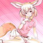 1girl akegata_tobari animal_ears blonde_hair bow bowtie brown_eyes closed_mouth commentary fennec_(kemono_friends) fox_ears fox_tail fur_trim kemono_friends miniskirt pink_background pink_shirt pleated_skirt shirt shirt_pocket short_hair short_sleeves skirt smile solo tail thigh-highs thighs white_skirt yellow_legwear yellow_neckwear