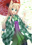 1girl :d animal_ears bangs blue_eyes blue_hair blue_scrunchie blush checkered closed_eyes commentary_request fang fox_ears fox_girl gradient gradient_hakama green_hakama green_kimono hair_ornament hair_scrunchie hakama hand_up highres holding holding_umbrella japanese_clothes kimono long_hair long_sleeves looking_at_viewer low-tied_long_hair low_twintails multicolored multicolored_clothes multicolored_hair open_mouth oriental_umbrella original print_hakama print_kimono print_umbrella purple_hakama red_umbrella scrunchie sidelocks smile solo streaked_hair tsuyukina_fuzuki twintails umbrella very_long_hair white_background wide_sleeves