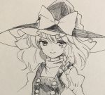 1girl braid greyscale hat juliet_sleeves kirisame_marisa large_hat long_sleeves looking_at_viewer monochrome pen_(medium) puffy_sleeves side_braid single_braid sketch smile solo touhou traditional_media turtleneck v-shaped_eyebrows vest wavy_hair witch_hat yururi_nano
