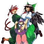 3girls ^_^ animal_ears bangs bird_wings black_wings blouse blush bow braid breast_rest breasts breasts_on_head brown_hair cape cat_ears cat_tail closed_eyes cowboy_shot dress extra_ears eyebrows_visible_through_hair fangs green_bow green_dress green_skirt hair_between_eyes hair_bow hairband half-closed_eyes hand_on_another's_arm hands_up happy heart height_difference huge_breasts kaenbyou_rin komeiji_satori koyubi_(littlefinger1988) large_breasts long_dress long_hair long_skirt long_sleeves multiple_girls multiple_tails nekomata open_mouth parted_lips pink_skirt puffy_short_sleeves puffy_sleeves purple_blouse purple_hair red_eyes redhead reiuji_utsuho shirt short_hair short_sleeves simple_background skirt smile standing starry_sky_print tail third_eye touhou twin_braids violet_eyes white_background white_cape white_shirt wide_sleeves wings