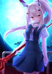1girl alternate_costume ayanami_(azur_lane) ayanami_rei ayanami_rei_(cosplay) azur_lane choker collarbone cosplay full_moon hair_ornament hairpin headgear highres holding hukairi_botan lance lance_of_longinus long_hair looking_at_viewer moon namesake neon_genesis_evangelion night night_sky parted_lips polearm ponytail school_uniform silver_hair sky solo weapon wind