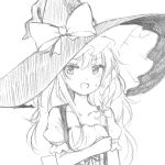 1girl :d blush braid collarbone commentary dirndl dress german_clothes hand_on_own_chest hat kirisame_marisa long_hair looking_at_viewer low-cut open_mouth puffy_short_sleeves puffy_sleeves short_sleeves side_braid single_braid sketch smile solo sweat touhou wavy_hair witch_hat yururi_nano