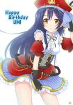 1girl arm_up birthday black_gloves blue_hair character_name commentary_request cowboy_shot eyebrows_visible_through_hair gloves hair_between_eyes happy_birthday hat long_hair love_live! love_live!_school_idol_festival love_live!_school_idol_project miyamori_raira open_mouth pirate_costume pirate_hat simple_background skirt sleeveless solo sonoda_umi yellow_eyes