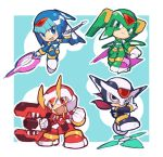 1girl 3boys android armor beam_saber black_eyes blue_eyes blush capcom chibi energy_sword fafnir full_body gloves green_eyes hand_gesture harpuia helmet inti_creates kin_niku leviathan_(rockman) multiple_boys ninja open_mouth orange_eyes phantom_(rockman) polearm rockman rockman_zero shuriken smile spear sword weapon white_gloves